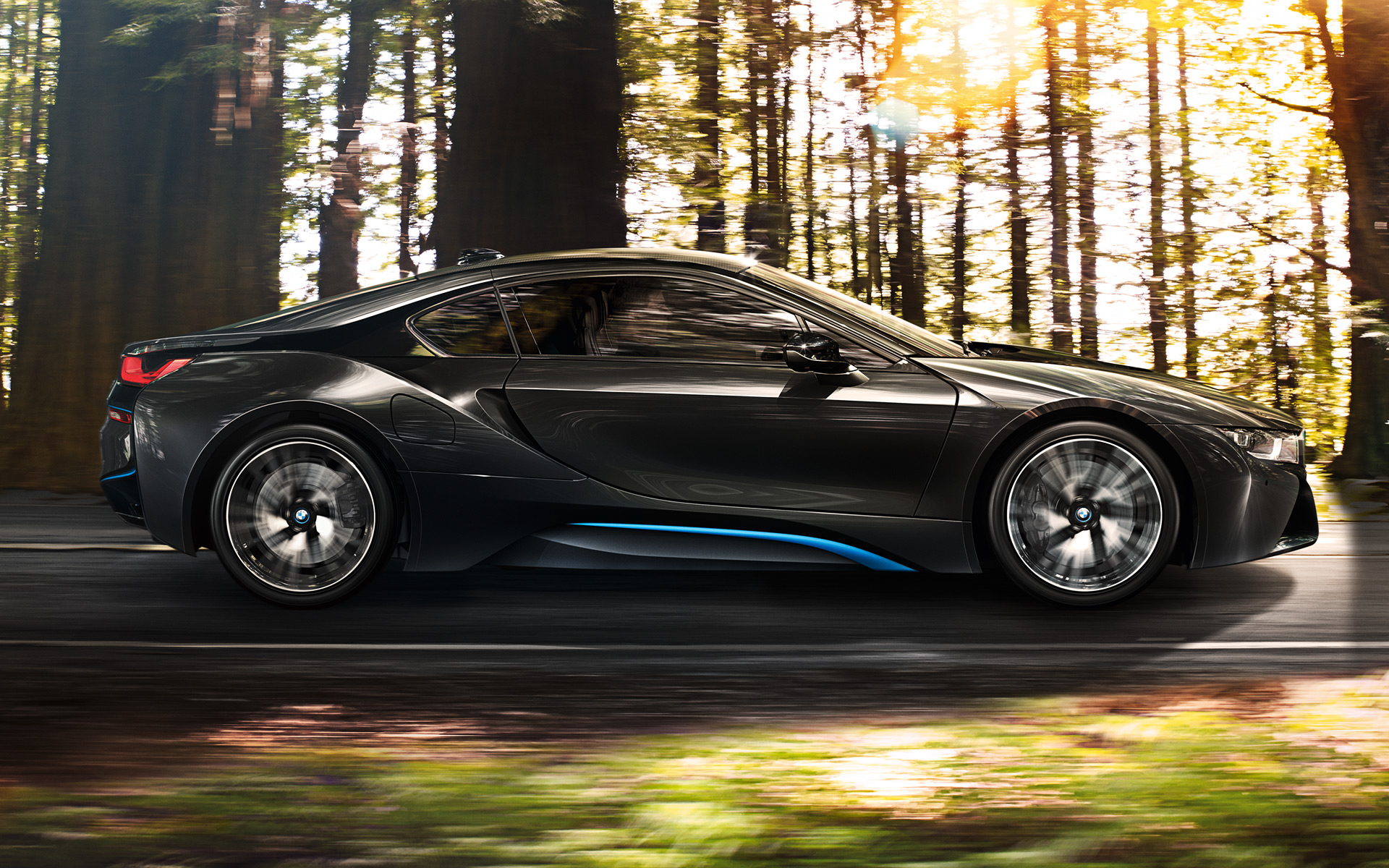 Driving Luxury BMW i8 on road