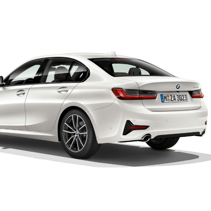 Three-quarter rear shot of the BMW 3 Series Sedan with Model Sport Line features.